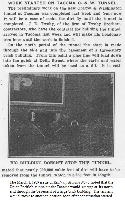 Poor photo of tunnel through brick building, Railway Marine News, March 1, 1909